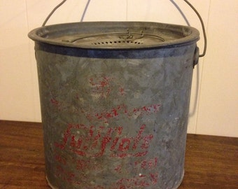 Vintage minnow bucket • vintage fishing pail