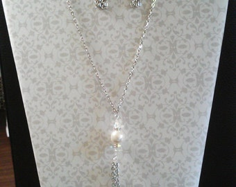 Swarovski Crystal with Czech White Pearl Set or Freshwater Pearl Set, Both on Shiny Silver Chain, WEDDING, JUNE BIRTHSTONE