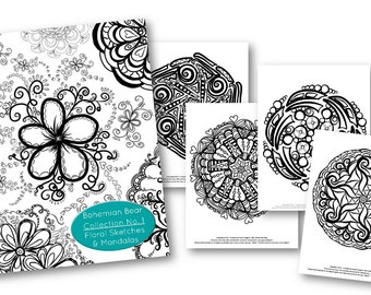 Bohemian Bear Zentangle Coloring Book Collection No 1. Floral Sketches and Mandalas