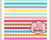 ON SALE, scallop border clipart, 50 colors digital color border clipart. B-16, lace border clip art, instant download