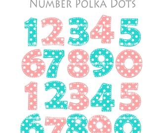 ON SALE number clipart, blue pink number,Polka Dots Number, cupcake topper clip art, scrapbooking, INSTANT Download