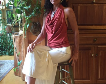 Simply organic cowl neck top backless drape top