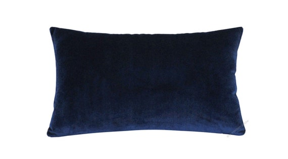 Navy Blue Decorative Bed Pillows: Navy Blue Velvet Decorative Throw Pillow Cover By