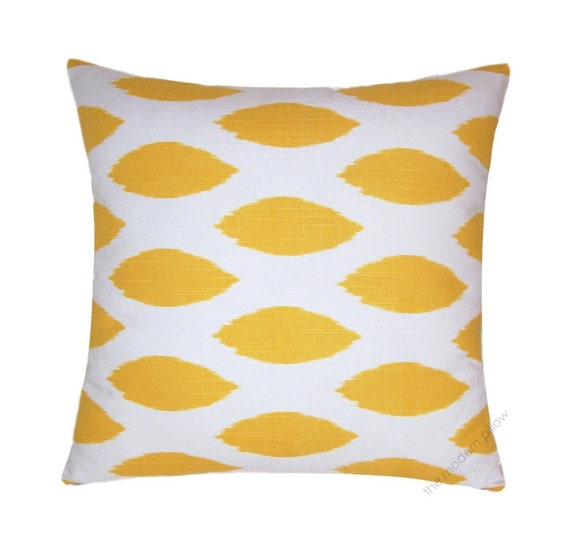 mustard yellow and white chipper decorative throw pillow cover. Black Bedroom Furniture Sets. Home Design Ideas