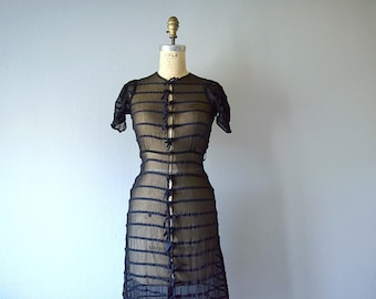 1930s 1940s sheer black dress . vintage 30s dress