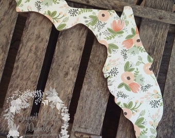 White floral Florida wood cutout sign