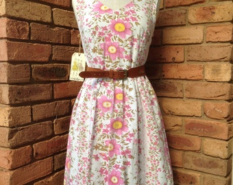 Vintage inspired tea dress pink and orange floral READY TO SHIP Size 12