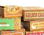 Six Vintage Cigar Boxes - King Edward - Golden Eagle - Roi-Tan - Cigars - Storage Boxes - Craft Supplies - Collectibles
