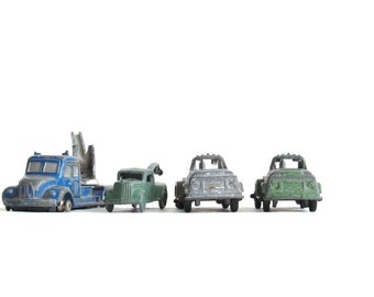 Three Vintage Diecast Metal Tow Trucks - Tootsietoy - Schuco Magirus Wrecker - Tootsie Toy Collectible Trucks - Schuco Piccolo