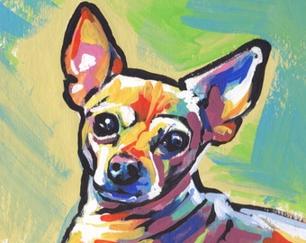 "blonde Chihuahua portrait modern Dog art print pop art bright colors 8.5x11"" LEA"