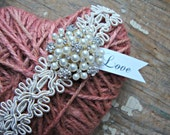 Tattered Heart of Cameo Pink Jute Twine with Rhinestones Pearls and Love Tag