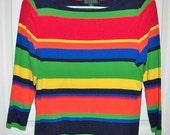 Vintage Ladies Multi Color Striped Knit Shirt Lauren by Ralph Lauren Extra Large Only 8 USD