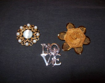 Vintage Moonstone Pearl Golden Rose & Silver Love Brooch Pins by AAi All 3 for 5.50 USD