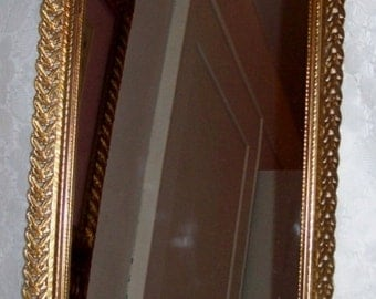 Vintage Dresser Tray Wall or Table Mirror w/ Brass Filigree surround Only 15 USD