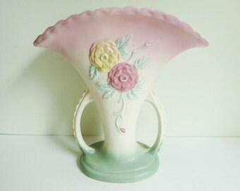 1940's Hull Pottery Vase - Hull Open Rose Pattern - Mid Century Art Pottery - Pastel Pink - Feminine Decor - Country Cottage Chic Decor