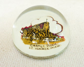 Old Glass Paperweight Souvenir of Castle Rock Michigan - Magnified Decal - Retro Desk Accessory - Office Decor - Stocking Stuffer