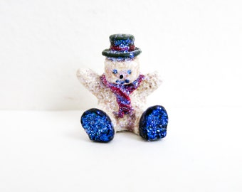 Vintage Miniature Metal Snowman with Glitter - Blue Snowman - Putz Christmas Decoration - Wreath Supply - Dollhouse Christmas