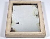 Primitive little white painted Mirror, Chippy White Painted Mirror, Old Painted wooden Mirror
