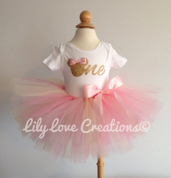 5bbadf006 ... Gold And Pink Birthday Outfit First Birthday Outfit Gold: Pink And Gold  Minnie Mouse Birthday