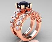 Modern Vintage 14K Rose Gold 3.0 Ct Black Diamond White Sapphire Designer Wedding Ring Bridal Set R142S-14KRGWSBD