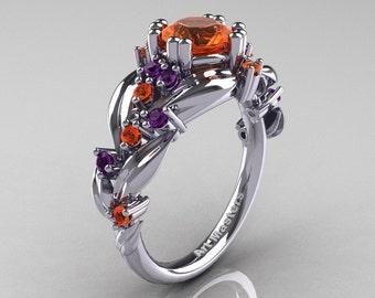 Nature Classic 14K White Gold 1.0 Ct Orange Sapphire Amethyst Leaf and Vine Engagement Ring R340-14KWGAMOS