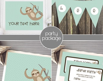 Instant Download - Aqua / Robin's Egg Blue Sloth Baby Shower Package