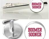 Oklahoma Boomer Sooner Sports gift set, Oklahoma State cufflinks, Boomer Sooner tie clip, boomer sooner accessories, college logo cufflinks,