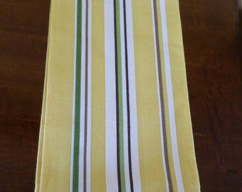"""Crate and Barrel/21"""" X 21"""" YELLOW STRIPE/""""Calla"""" / Dish Towels/100% Cotton/Like New/Dish Cloths/Set of 4"""