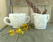 Antique White Milkglass Westmoreland Cream + Sugar Set, Vintage Milk Glass Collectible Art Glass, Wedding Decor, Gift for Tea Drinkers