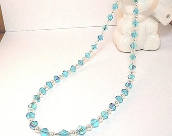 Clearance Sale Crystal Necklace -  Pearl Necklace -  Crystal Necklace - Choker Necklace- Toggle Clasp
