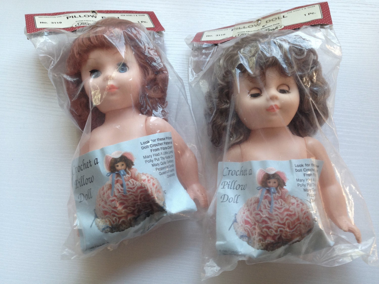 1989 fibre craft vinyl half dolls for crocheted pillow dolls for Fibre craft 18 inch doll