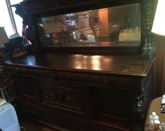 Victorian Buffet Server with Mirror Griffins and Detail