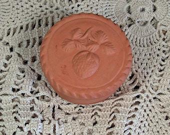 Vintage Strawberry Pottery Covered Trinket Dish Ring Holder