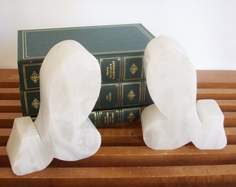 Vintage Italian Alabaster Bookends, Abstract Modern Shapes, Book Ends, White Stone, Vintage Mod