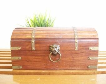 Vintage Wooden Chest with Brass Lion Handle, Jewelry Box, Miniature Trunk, Retro Dresser Storage, Hollywood Regency