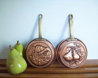 Vintage Copper and Brass Decorative Pans, Wall Hangings, Small Vintage Copper Skillets, Retro Copper Decor