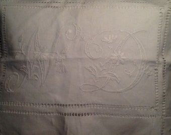 ANTIQUE HAND EMBROIDERED linen pillow - envelope style