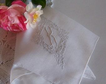 Wedding Shower Gift Bride's Handkerchief Monogrammed K in Off White Wedding Keepsake Gift for a Bride or Bridesmaid Something Old