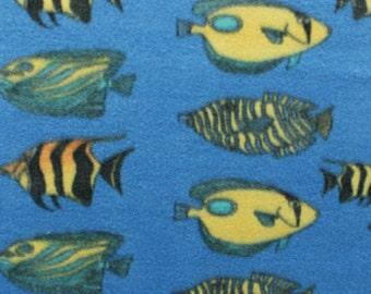 Fish Aquarium Animal Print Fleece Fabric by the yard