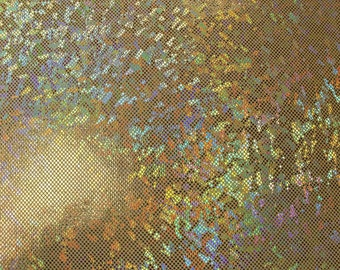 Shattered Glass Hologram Stretch Fabric by the yard - Gold/Gold