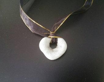 Beach Hag Stone Charm Necklace on Black Ribbon. Holey Stone Pendant Talisman Necklace. Metaphysical Amulet Stone Organic Zen Jewelry