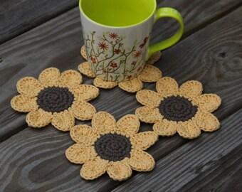 Sunflower Coasters, Flower Coasters, Crochet Flower Coasters, Handmade Coaster Set,  Cotton Coasters, Flower Coasters, Drink Coasters,