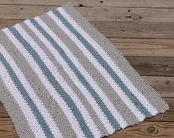 Teal Gray White Blanket, Baby Boy Blanket, Striped Baby Blanket, Baby Afghan, Teal Baby Blanket, Teal Gray Nursery Bedding, Crochet Blanket