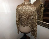 French antique lace mantilla veil gold ecru mantilla veil Victorian wedding lace shawl wrap scarf 1900s RARE elegant floral lace veil church