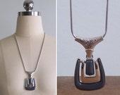 20% CNY SALE - Vintage 80's Modernist Silver & Grey Statement Pendant Necklace
