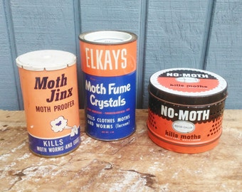 SALE! - Vintage Moth Tins - Collectible Tins - Vintage Advertising