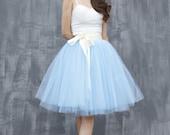 Tulle Skirt Tea length Knee length Tutu Skirt Fixed Waist tulle tutu Princess Skirt Wedding Skirt in Light Blue - NC649