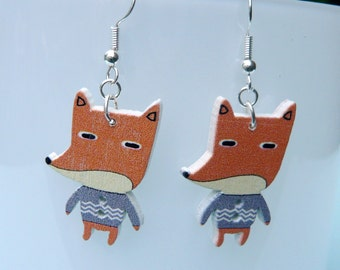 Cute Fox Button Upcycled Earrings Sterling Silver