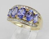 Tanzanite and Diamond Wedding Ring Anniversary Band 14K Yellow Gold Size 7.25