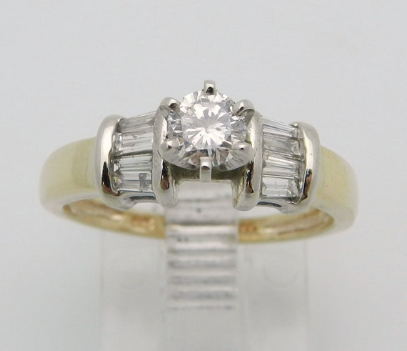 Diamond Engagement Ring 14K White and Yellow Gold Traditional Round Brilliant